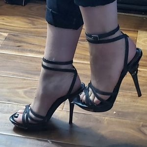 Guess Black Glitter Strappy Ankle Wrap Heels